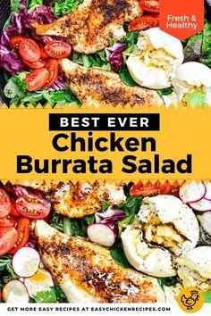 Mango Chicken Salads, Healthy Chicken Dinner, Chicken Salad Recipes, Burrata Recipe, Burrata Salad, Salad Recipes Low Carb, Healthy Recipes, Different Salads, Chicken Slices