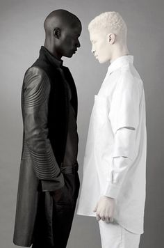 "From Samuel Slider :  ""It's pretty incredible to think of how diverse humans are, but perhaps one of the ways we're most diverse is skin color. A picture of Papis Loveday and Shaun Ross, shows that better than most. Shaun Ross is an albino model, who also happens to be African. He has, perhaps, the whitest skin of any human being. Meanwhile, Papis Loveday has what looks to be the darkest skin of any human being. Quite impressive to look at"""