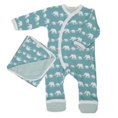 Organic for Kids Blue Elephant Babygrow Gift Set