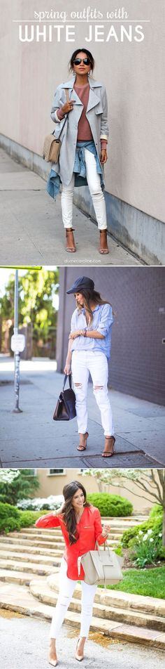 Swap your classic blue denim for a pair of white jeans to freshen up your look this season. #Fashion #SpringStyle
