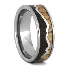 Crushed Dinosaur Bone Ring, Oak Wood Wedding Band, Mountain Design-3548
