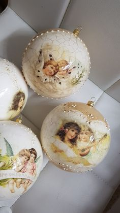 Shabby Chic Christmas Ornaments, Christmas Decoupage, Christmas Tree Toy, Christmas Angels, Christmas Home, Christmas Crafts, Ball Ornaments, Xmas Decorations, Handmade Toys