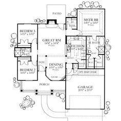 Mediterranean Style House Plan - 3 Beds 2 Baths 1355 Sq/Ft Plan #80-104 Floor Plan - Main Floor Plan - Houseplans.com