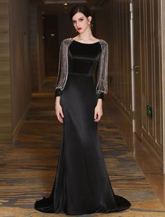 052c00313e Black Evening Dresses Luxury Mermaid Mother Dress Long Sleeve Chains  Beading Formal Occasion Dresses With Train