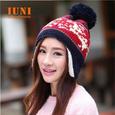 Winter 2014Women Warm Fashion hand hook knitted Add wool protective ear hat for gilrs elastic beanie cap woman accessories-
