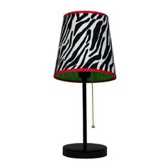 LimeLights Fun Prints Zebra Stick Table Lamp with Fabric Shade at Lowe's. This enormously fun and fashionable table lamp features a painted base and funky patterned shade with coordinating liner. This lamp will add a wildly Light Table, Lamp Light, Thing 1, Black Table Lamps, Pink Zebra, Cheetah, Fabric Shades, Fun Prints, Drum Shade