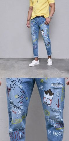 mens Jeans – High Fashion For Men Painted Jeans, Painted Clothes, Mode Masculine, Diy Clothing, Custom Clothes, Running Clothing, Jean Diy, Mode Jeans, Denim Jeans Men