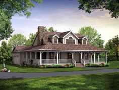 Country Farmhouse Victorian Elevation of Plan 90288