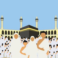 Muslim pilgrims perform Hajj / Umrah (pilgrimage to Mecca) around Kaaba at the Haram Mosque using Ihram (white garment). Mecca Islam, Mecca Kaaba, Islamic Art Canvas, Islamic Paintings, Poster Ramadhan, Mosque Vector, Islamic Events, Eid Stickers, Flowery Wallpaper