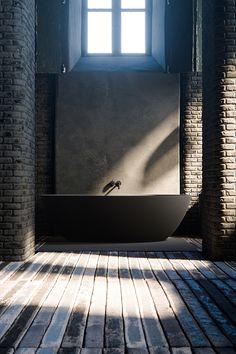 COCOON goes dark! | rustic dark bathroom design | Piet Boon taps and basins | Salinas bath tub | interior design | dark bathroom bycocoon.com | villa bathroom design | loft bathroom design | Dutch Designer Brand COCOON