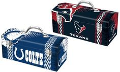 Durable tool box with steel construction and a rust-resistant, powder-coated finish; shows off your favorite NFL team