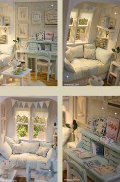 Nerea Pozo Art Vitrine Miniature, Miniature Rooms, Miniature Houses, Barbie Furniture, Dollhouse Furniture, Minis, American Girl Doll Room, Diy Doll Miniatures, Mini Doll House