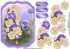 Cream and Lilac Posy Shaped Topper on Craftsuprint designed by Mary MacBean - Shaped card topper with decoupage featuring cream and lilac flowers on a pretty background. There are Happy Birthday and Get Well Soon sentiments or a blank tag for your own greeting.  - Now available for download!