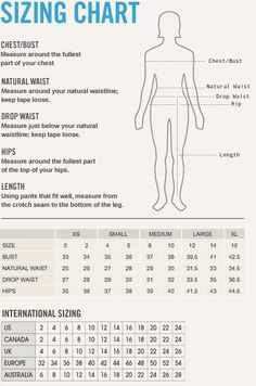Sizing chart for women dresses