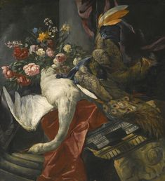 PEETER BOEL (ANTWERP 1622 - 1674 PARIS)  STILL LIFE OF PEONIES, ROSES AND OTHER FLOWERS IN A TERRACOTTA VASE, TOGETHER WITH A SWAN, PEACOCK AND BOAR'S HEAD, RESTING ON A RED DRAPE AND AN ANTIQUE ARCHITECTURAL FRAGMENT  oil on canvas, 145 x 132.5 cm