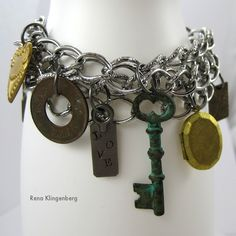 Junk styled charm bracelet - love this!! By Jewelry Making Journal featured on I Love That Junk