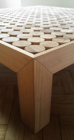 """The beauty of the Sofia coffee tablecomes from unique signs of cutting """"Teka"""" solid wood."""