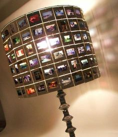 Old slide upcycle! what an awesome lamp!