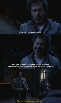 Supernatural...I just love how absolutely done with Metatron Cas was in this part of the scene