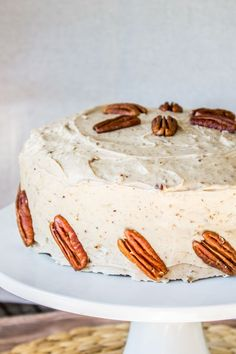 Carrot Cake with Cream Cheese Maple Pecan Frosting - The Food Charlatan