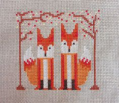 A Foxy Pair modern cross stitch pattern PDF by FoxYouAreSoCrafty