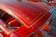 Owner Trino & Deserie Alfaro of Tracy, California Member of Traffic Car Club Nor Cal Car Paint Jobs, Custom Paint Jobs, Custom Cars, Candy Paint, Pearl Paint, Lace Painting, Chicano Art, Low Rider, Kustom Kulture