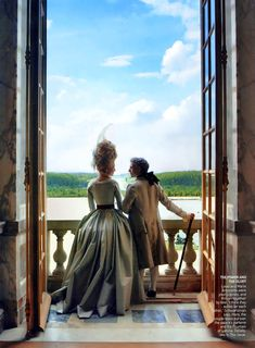 Louis XVI, depicted by Jason Schwartzman, and Marie Antoinette, depicted by Kirsten Dunst, look out over the palace's parterre and the Fountain of Latona. Photographed by Annie Leibovitz for Vogue, September 2006.