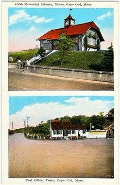Vintage Cape Cod Postcard -- Cobb Memorial Library and the Post Office, Truro ~~~ The VintagePlum Shop on Etsy ~~~ Truro, General Store, Post Office, Vintage Postcards, Cape Cod, Massachusetts, Etsy Vintage, New England, 1920s