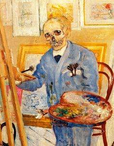 [ E ] James Ensor - Skeleton at the empty easel (1896) - Detail | 출처: Cea.