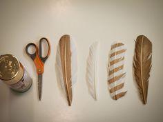 spray paint feathers diy