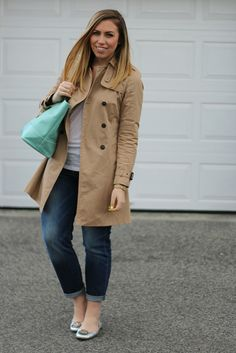 Casual Trench Coat & Boyfriend Jeans on Living After Midnite