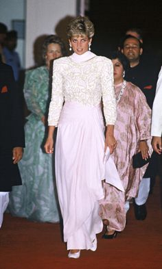 Pretty in pink, the Princess wore an intricately detailed pink and gold beaded gown for an event in Pakistan.