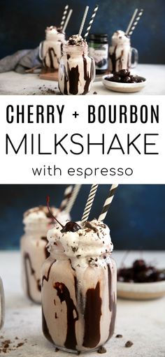 Creamy delicious Cherry Bourbon Milkshake with bold espresso, chocolate syrup, and whipped cream. Enjoy this luscious dessert cocktail all year-round and always with an extra cherry on top #sponsored Chocolate Bourbon, Chocolate Syrup, Chocolate Recipes, Milkshake Recipes, Smoothie Recipes, Easy No Bake Desserts, Dessert Recipes, Drink Recipes, Cocktail Desserts