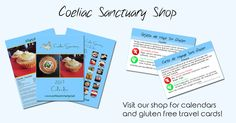 Coeliac Sanctuary Shop - visit our shop for gluten free travel cards and calendars (2018 will be available soon)