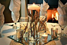Rustic 3 Piece Glass Cylinders with twigs and floating candle centerpiece