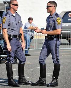 Delicious males in uniform drilling