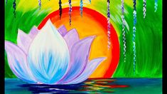 Flower Drawings Tutorial how to paint Buddha holding a Lotus Acrylic Painting tutorial. This colorful Zen art project will be guided real time step by step LIVE. No drawing needed Le. Simple Watercolor Flowers, Easy Flower Painting, Lotus Painting, Acrylic Painting Flowers, Easy Canvas Painting, Simple Acrylic Paintings, Acrylic Painting Tutorials, Diy Canvas Art, Paint Flowers