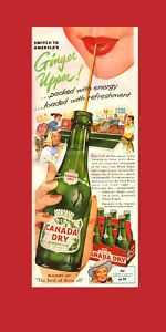Original 1958 half-page magazine ad for Canada Dry Ginger Ale