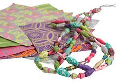Paper beads, a great way to recycle magazines and other colorful papers.