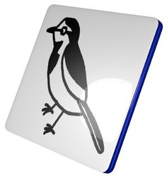White Wagtail Square Coaster / #Tableware #Animal #Bird