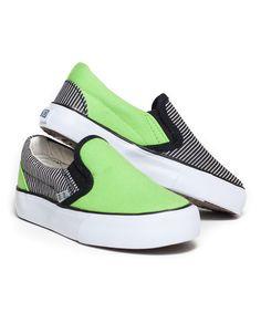 Green & Black Stripe Sk8ter Slip-On Sneaker by XOLO Shoes #zulily #zulilyfinds