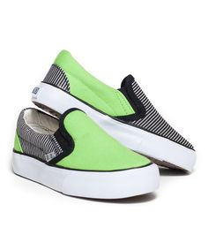 Another great find on #zulily! Green & Black Stripe Sk8ter Slip-On Sneaker by XOLO Shoes #zulilyfinds