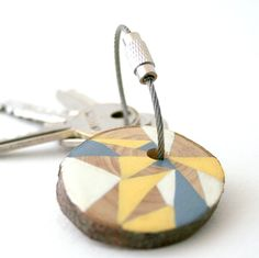 Geometric triangles pine wood hand painted keychain with stainles steel cable wire on Etsy, $16.00