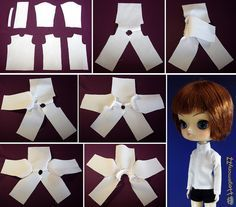 How I made shirt for Dolls Doll clothes and photos made by Sewing Doll Clothes, Sewing Dolls, Doll Clothes Patterns, Barbie Clothes, Clothing Patterns, Doll Crafts, Diy Doll, Blythe Dolls, Barbie Dolls