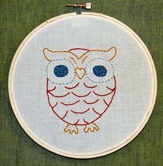 Hoot Owl Embroidery Hoop Art