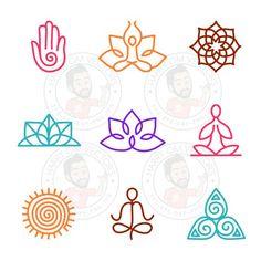 Yoga Stick Figure Vectors SVG DXF For Silhouette Cameo Or Cricut Yoga Mudra Meditation Sun Mandala Spirituality Lotus Illustration Yoga Logo, Silhouette Cameo, Sun Mandala, Mandala Tattoo, Tatouage Yogi, Yoga Stick Figures, Yoga Kunst, Yoga Tattoos, Forearm Tattoos