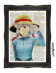 Sophie Starlight Studio Ghibli Inspired Art Print on an Unframed Upcycled Bookpage on Etsy, $8.00