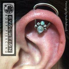 Awesome orbital piercing with a beautiful gem, orbital, and moonstone. Orbital Piercing, Body Mods, Ear Piercings, Opal, Titanium Jewelry, Gems, Fancy, Ink, Bending