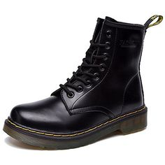 JACKSHIBO Women's Fashion Leather Ankle Bootie Winter Combat Boots,us 6,black with fur >>> Details can be found by clicking on the image.