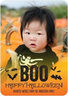 He's the cutest pumpkin in the patch. Capture his first Halloween with an adorable photo card.